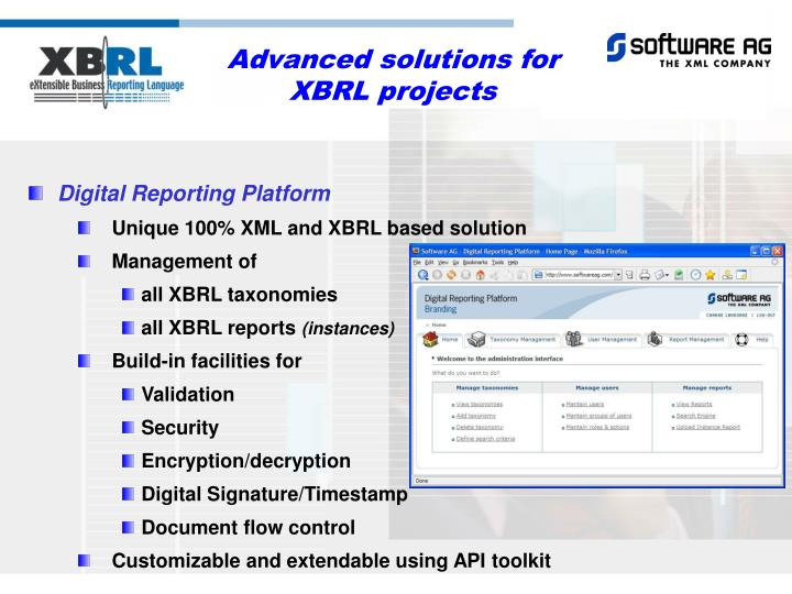 Advanced solutions for XBRL projects