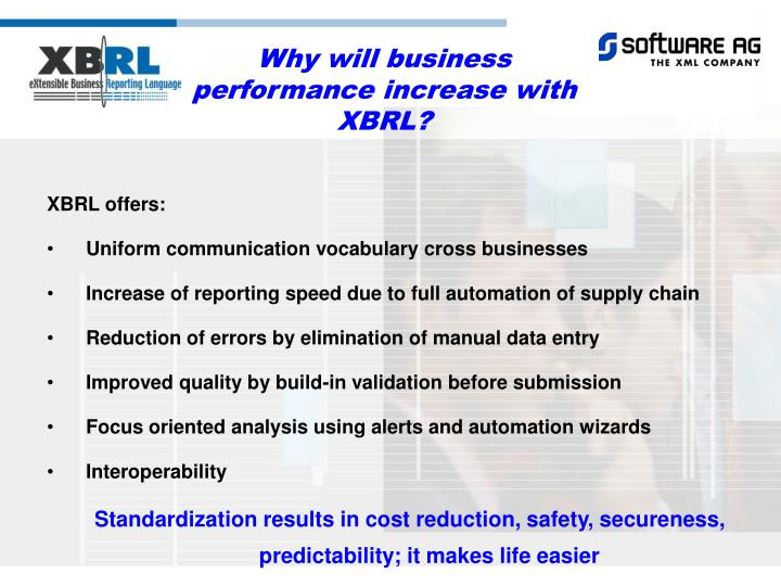 Why will business performance increase with XBRL?