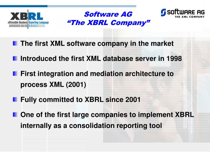 The first XML software company in the market