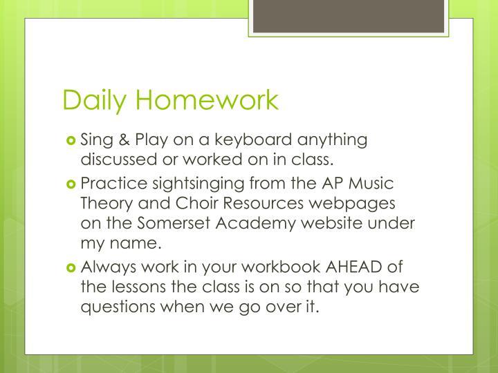 Daily Homework