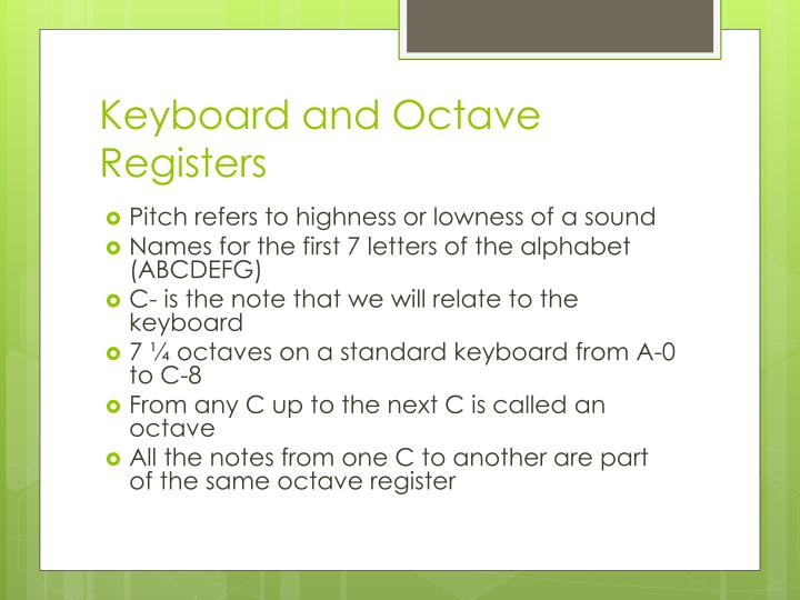 Keyboard and Octave Registers