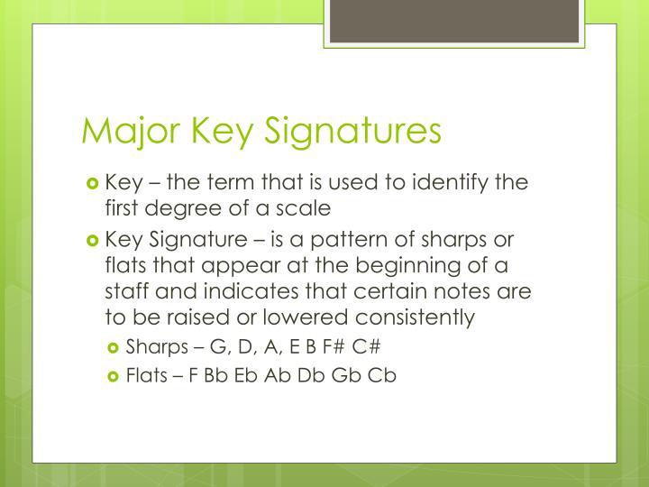 Major Key Signatures