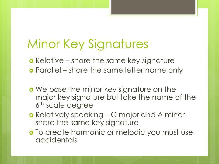 Minor Key Signatures