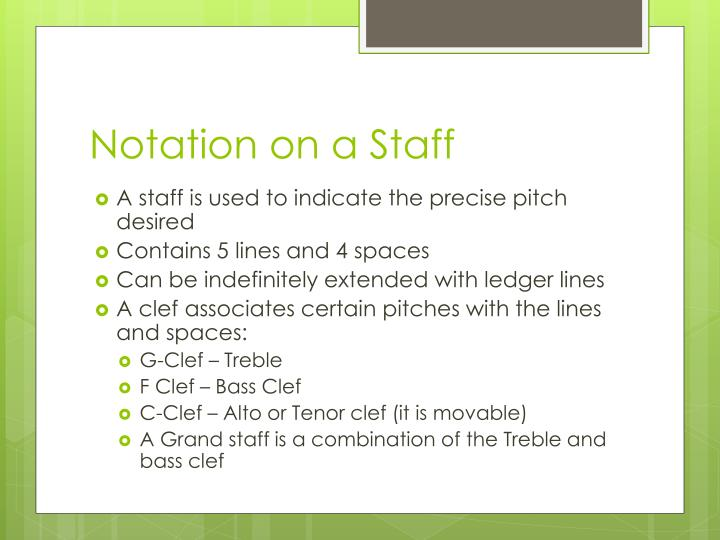 Notation on a Staff