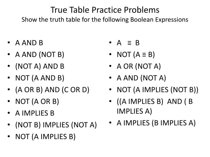 True Table Practice Problems