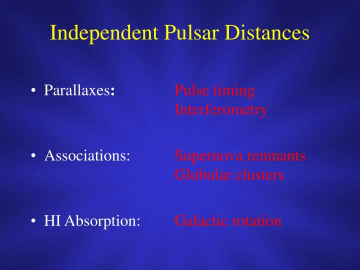 Independent Pulsar Distances