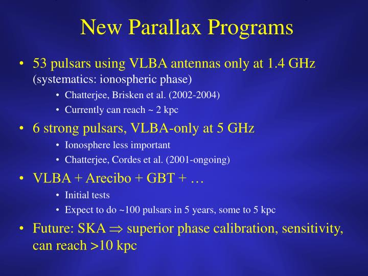New Parallax Programs