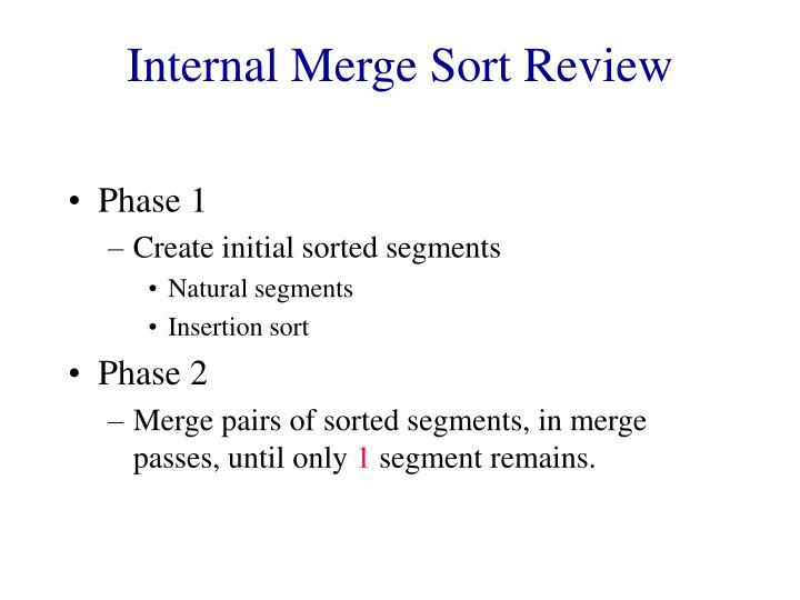 Internal Merge Sort Review