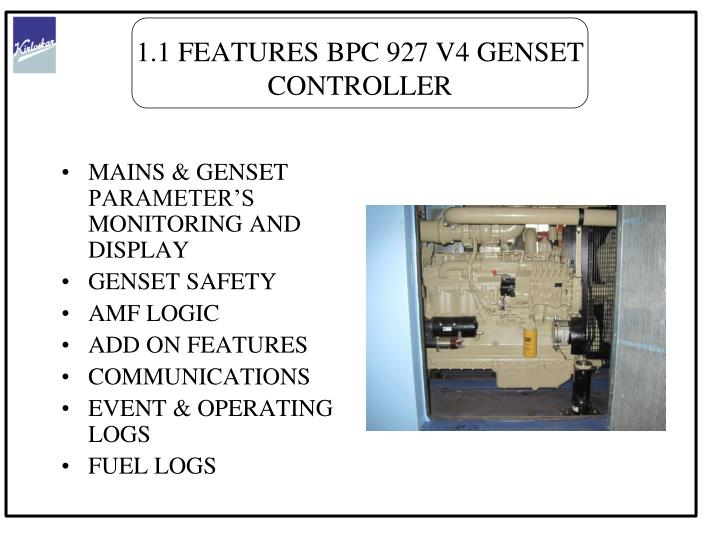 1.1 FEATURES BPC 927 V4 GENSET CONTROLLER
