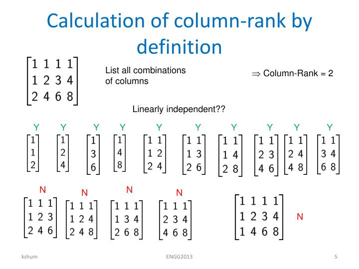 Calculation of column-rank by definition