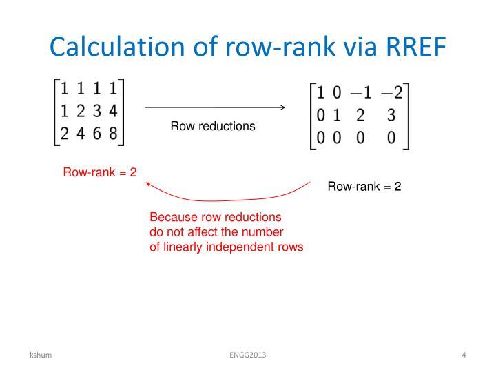 Calculation of row-rank via RREF
