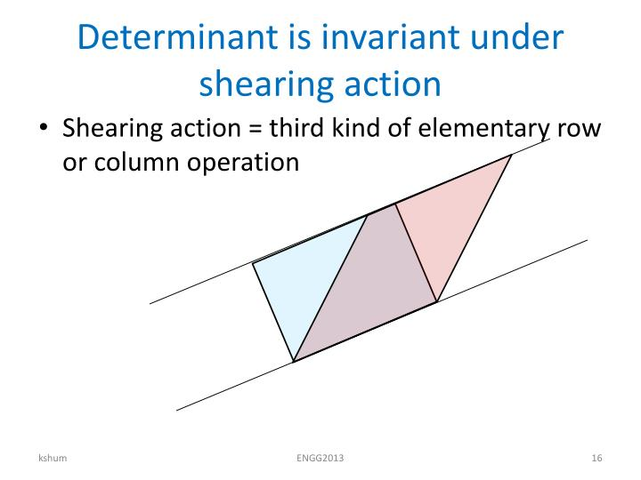 Determinant is invariant under shearing action