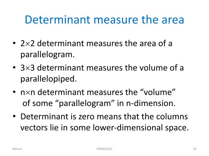 Determinant measure the area