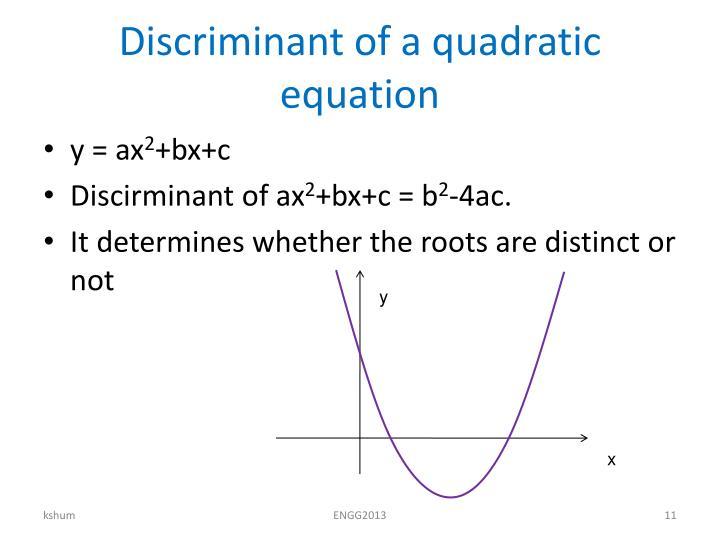 Discriminant of a quadratic equation