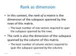 rank as dimension