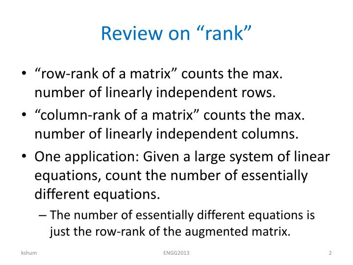 "Review on ""rank"""