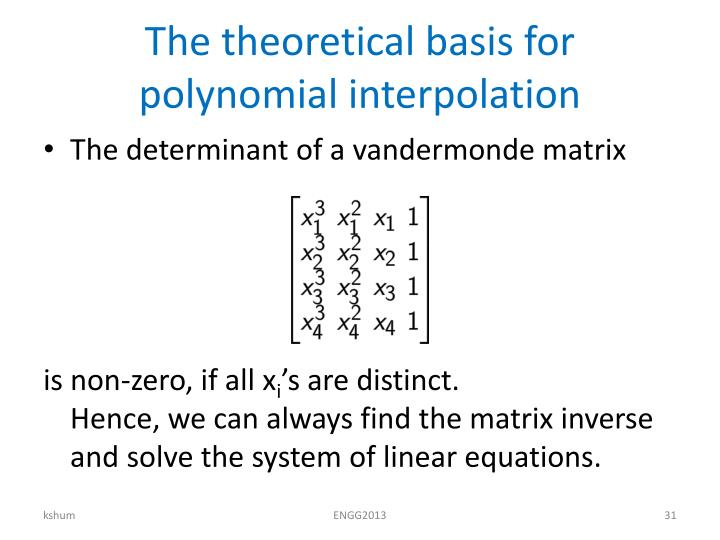 The theoretical basis for polynomial interpolation