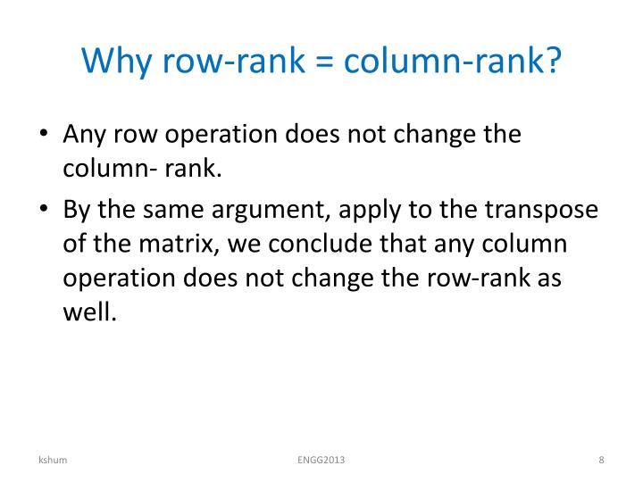 Why row-rank = column-rank?