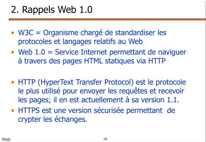 2. Rappels Web 1.0