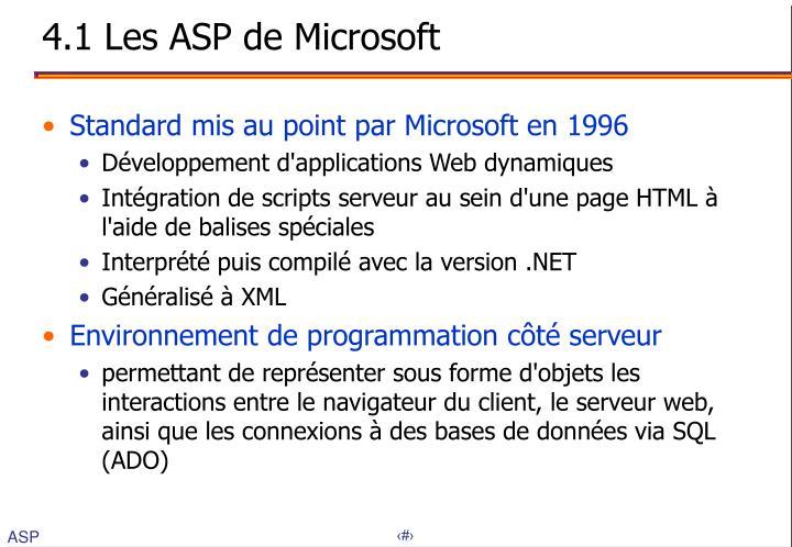 4.1 Les ASP de Microsoft