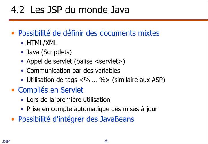 4.2  Les JSP du monde Java