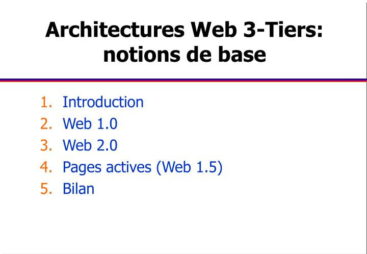 Architectures Web 3-Tiers: