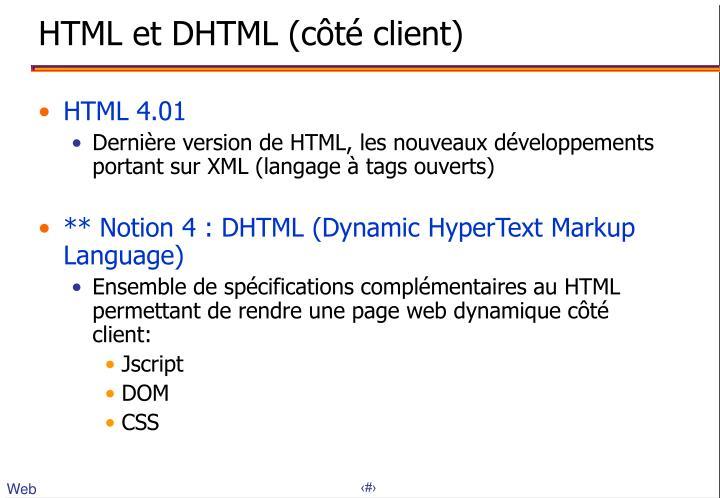 HTML et DHTML (côté client)