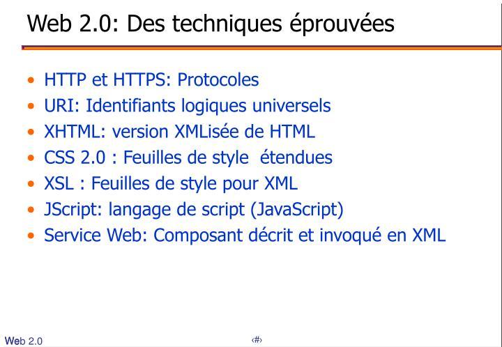 Web 2.0: Des techniques éprouvées