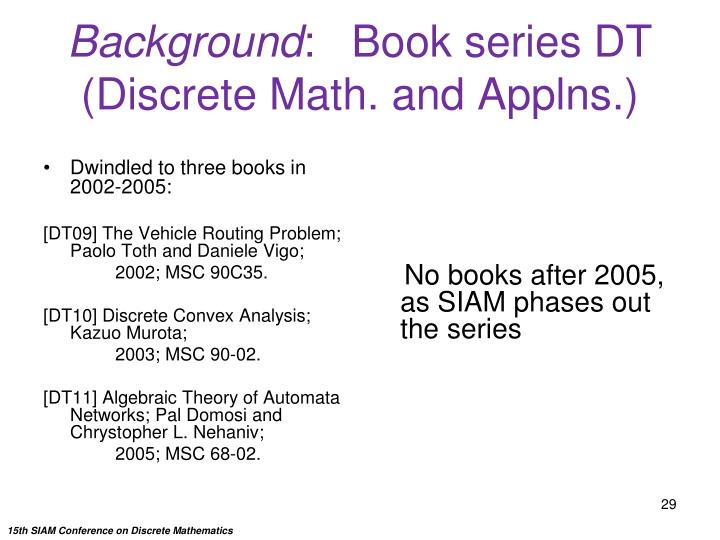 Dwindled to three books in 2002-2005: