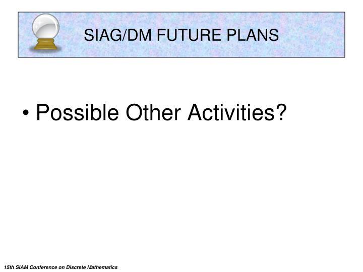 SIAG/DM FUTURE PLANS