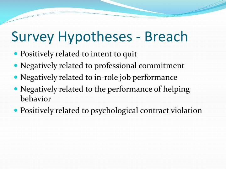 Survey Hypotheses - Breach