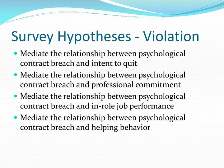 Survey Hypotheses - Violation