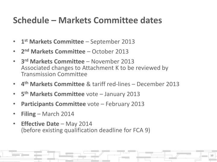 Schedule – Markets Committee dates