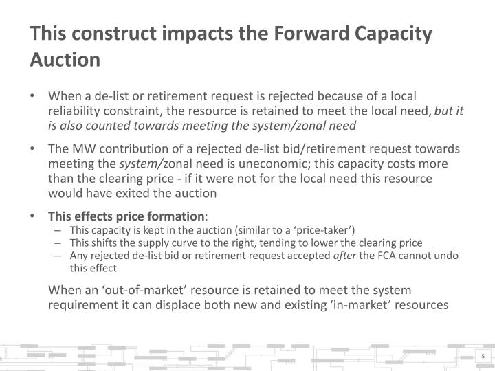 This construct impacts the Forward Capacity Auction