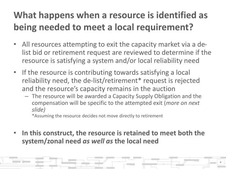 What happens when a resource is identified as being needed to meet a local requirement?