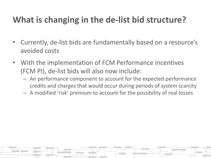 What is changing in the de-list bid structure?