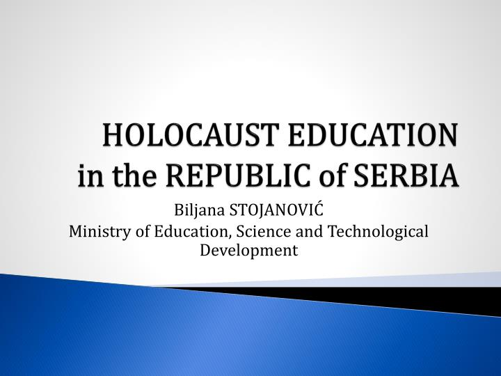 Holocaust education in the republic of serbia