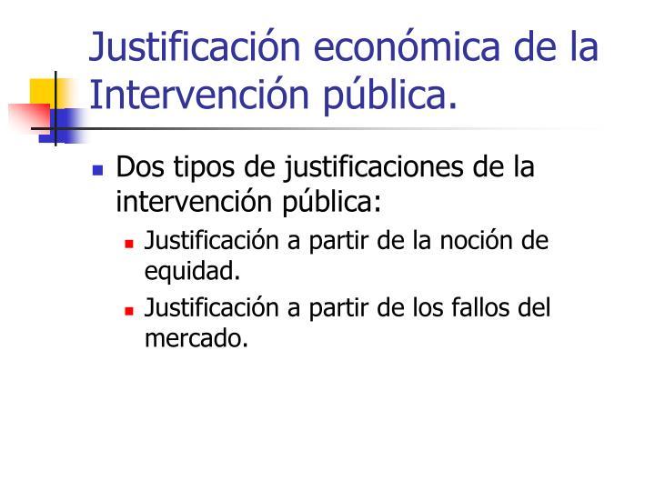 Justificación económica de la Intervención pública.