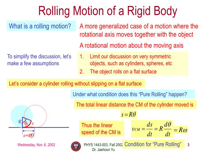 Rolling motion of a rigid body