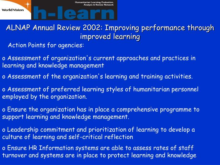 ALNAP Annual Review 2002: Improving performance through improved learning