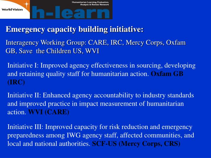 Emergency capacity building initiative: