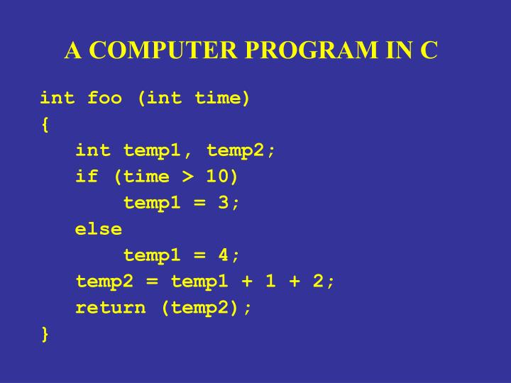 A COMPUTER PROGRAM IN C