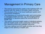 management in primary care