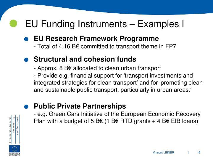 EU Funding Instruments – Examples I
