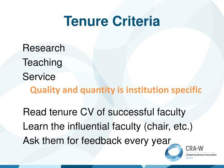 Tenure Criteria