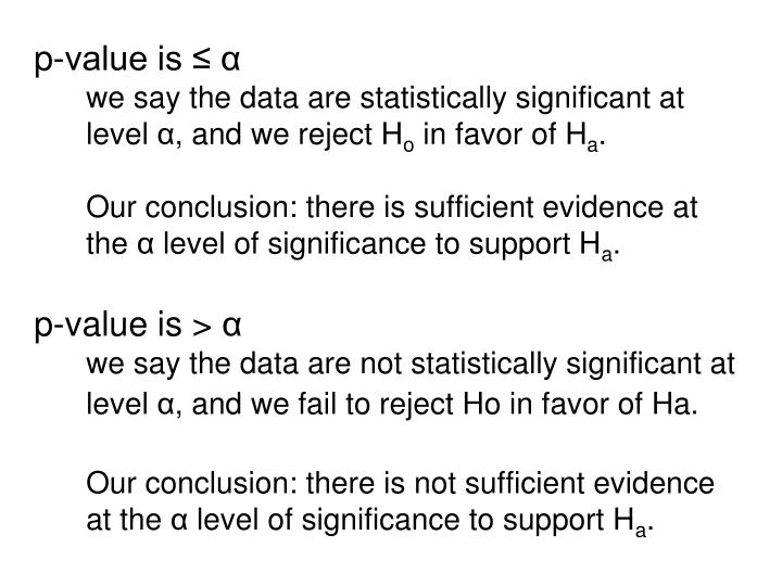 p-value is ≤