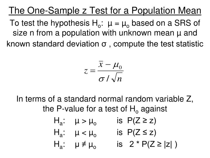 The One-Sample z Test for a Population Mean