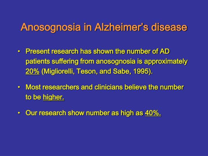 Anosognosia in Alzheimer's disease