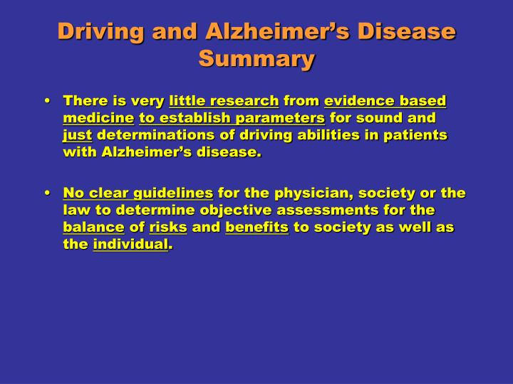 Driving and Alzheimer's Disease