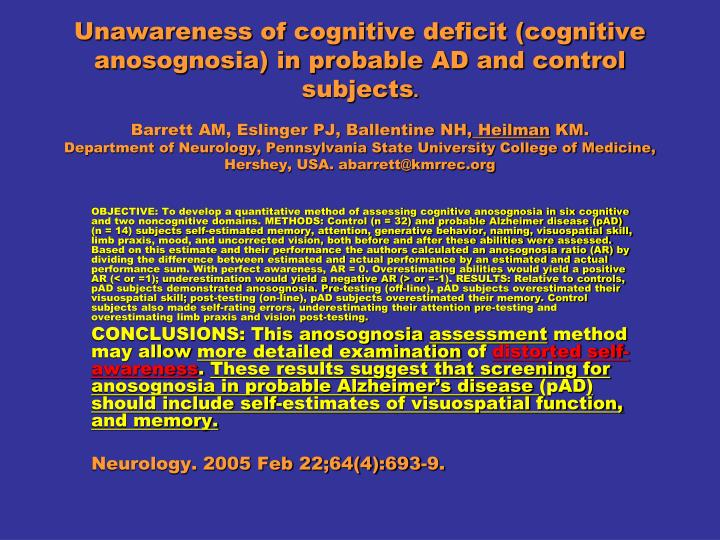 Unawareness of cognitive deficit (cognitive anosognosia) in probable AD and control subjects